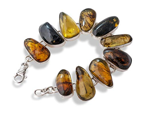 - Mixture of Mexican Natural Amber with Moss & Sterling Silver Handmade Link Bracelet