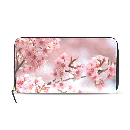 Womens Wallets Japanese Pink Beautiful Cherry Blossom Leather Passport Wallet Change Purse Zip Handbags (Blossom Cherry Wallet)