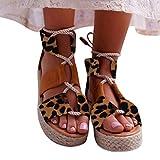 Women's Sandals Sengei Shoe Leopard Platform Sandal Shoes Summer Beach Open Toe Shoes Thick Bottom Roman Sandal (US 7, Brown)