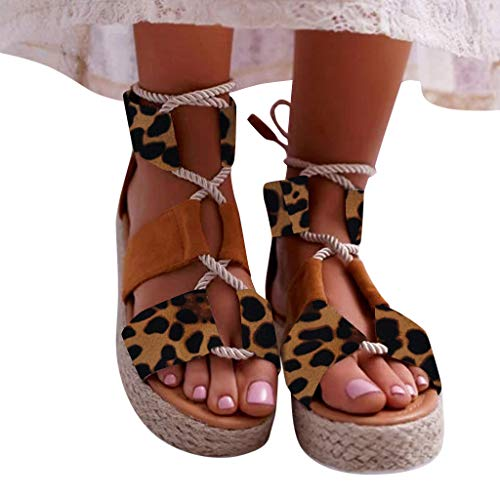 Platform Sandals Lace-Up Criss Cross Open Toe Ankle Strap Leopard Print Espadrille Roman Sandals Brown