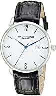 Stuhrling Original Men's 997L.01 Ascot Stainless Steel Date Watch With Black Leather Band