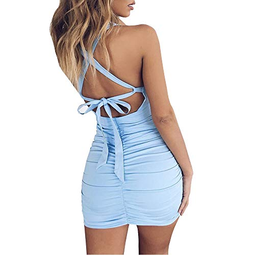 LEWTAC Women's Sexy Jumpsuit Hollow Out Spaghetti Backless Sleeveless Cutout Club Ruched Bodycon Mini Dress (Blue, S)