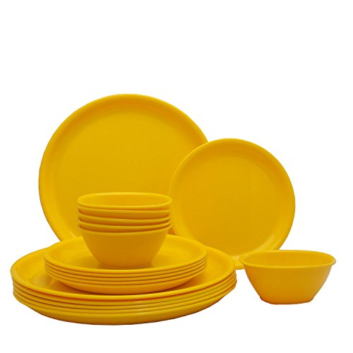 Incrizma Plastic Plate and Bowl Set   18 Pieces, Yellow