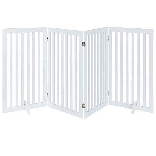 Espresso Support Panel - unipaws Freestanding Wooden Dog Gate, Foldable Pet Gate with 2Pcs Support Feet Dog Barrier Indoor Pet Gate Panels for Stairs, White (4 Panels, 20 inches Wide, 36 inches High)