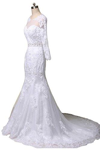 Gorgeous Bride Elegant Lang Aermel Meerjungfrau Satin Tuell Spitze Brautkleider Hochzeitskleider