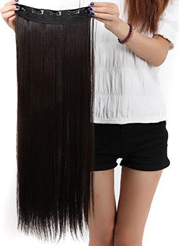 S-noilite® Clip in Extensions Halbperücke Haarverlängerung Haarverdichtung Haarteil 3/4 Perücke Glatt One Piece(66cm,Dunkelbraun)