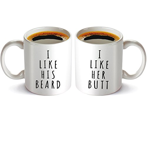 I Like His Beard, I Like Her Butt Couples Funny Coffee Mug set 11oz, Lovers Funny Novelty Present for Wedding Engagement, His and Hers Anniversary gift. -
