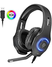 EasySMX USB Gaming Headset, PC Headset, 7.1 Surround Sound Stereo Gaming Kopfhörer für PS4, PC Games, Over-Ear Gamer Headphones mit Mikrofon