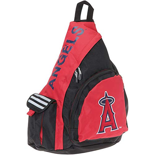 The Northwest Company MLB Los Angeles Angels Leadoff Sling Backpack, 20-Inch, Black/Red