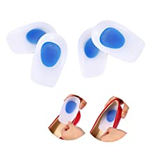 Silicone Heel Pads, 2 Pair Super Soft Wedge Insole Inserts Heel Support Orthotic Cushion Relief for Plantar Fasciitis Heel Pain