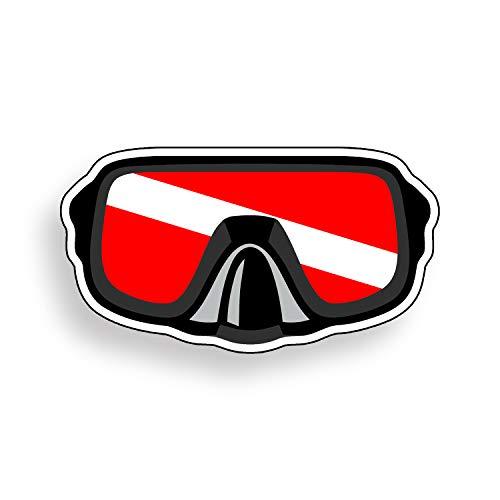 Scuba Diver Mask Vinyl Decal Diver Down Flag Sticker