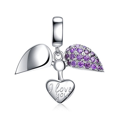 I Love You Charm 925 Sterling Silver Love Heart Dangle Bead Charms for European Charms Bracelet Necklace - Pandora Violet