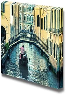 Beautiful Scenery Landscape Pictorial Venetian Canal with Gondola Home Deoration Wall Decor