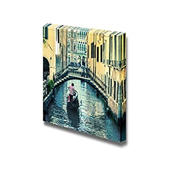 Canvas Prints Wall Art - Beautiful Scenery/Landscape Pictorial Venetian Canal with Gondola | Modern Home Deoration/Wall Art Giclee Printing Wrapped Canvas Art Ready to Hang - 24