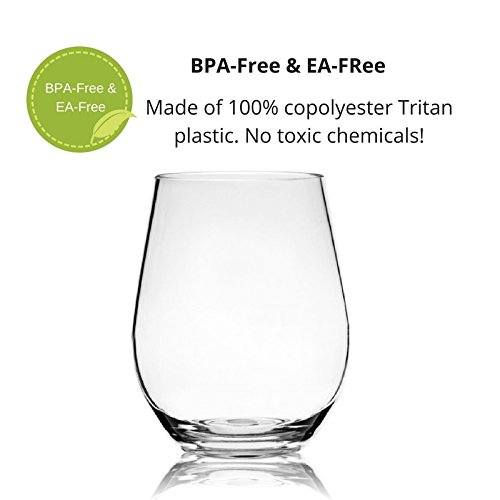 100/% Dishwasher Safe Set of 4 By Bondii CM Industries Inc. Perfect Gift Box Unbreakable Stemless Wine Glasses For Indoor or Outdoor Use 20 oz Shatterproof Tritan Plastic Cups