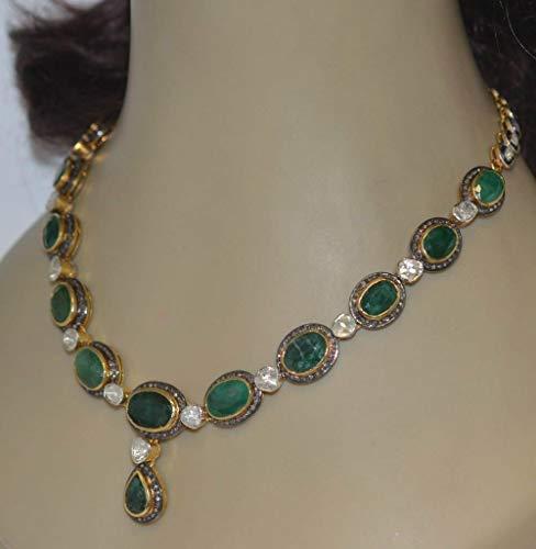 costozon victorian diamond necklace 31 Tcw Emerald Rose Cut Diamond 925 Sterling Silver vintage art deco jewelry