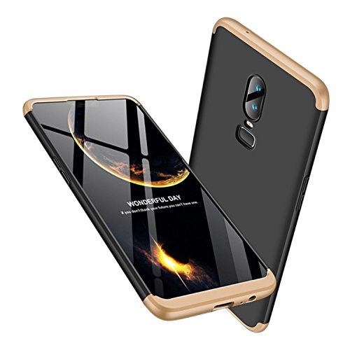 Leodea Oneplus 6 Case, 3 in 1 Ultra-Thin PC Hard Case Cover for Oneplus 6 2018 (Gold+Black)