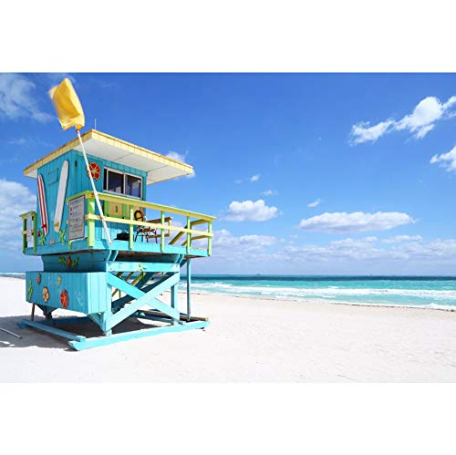 South Seas Hut - Canessioa 6x4ft Sea and Beach Photography Background Lifeguard Hut in South Beach Blue Sky White Cloud Boundless Sea View Backdrop Photo Booth Shoot Vinyl Studio Props