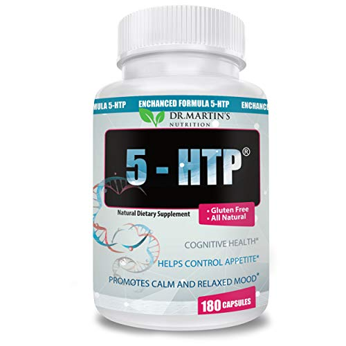 Dr. Martins Nutrition 5 -HTP 200 mg Supplement - 180 Capsules Natural Dietary Supplement| Promotes Calm Relaxed Mood |Helps Control Appetite| Cognitive Health Gluten Free All Natural