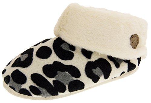White Faux Fur Studio Footwear Winter Slippers Print Booties Womens White Leopard qUSPPRWvgw