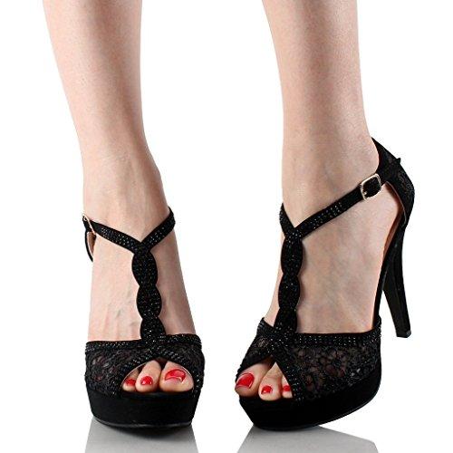 Top Moda Womens Hy-5 Open Teen Haak Hoge Hak Zwart