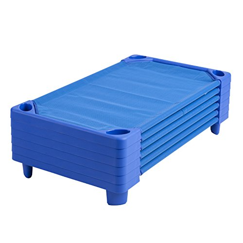 ECR4Kids Streamline Children's Naptime Cot, Stackable Daycare Sleeping Cot for Kids, 52″ L x 23″ W, Assembled, Blue (Set of 6)