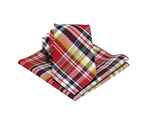 Mens Madras Plaid Tie Set : Necktie with Matching Pocket Square -Various Colors (Red Gingham Pocket Square)