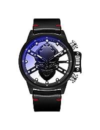 PinShang - Reloj de Pulsera para Hombre, diseño de Calavera Hueca 3D, Esfera Grande, Reloj Casual de Cuarzo, Negro (Black Skull)