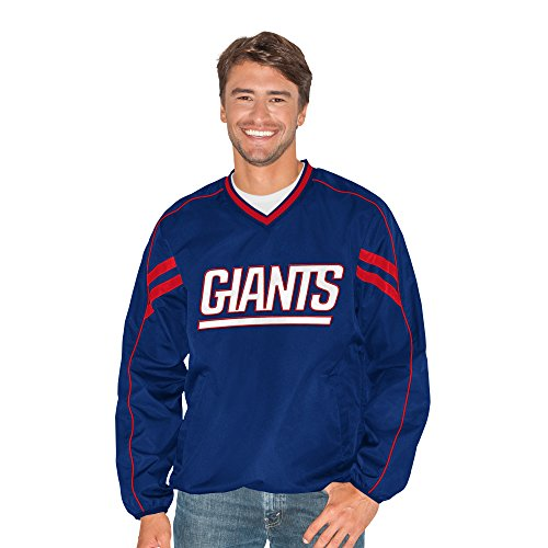 G-III Sports NFL New York Giants Adult Men Red Zone V-Neck Pullover, 6X, Royal