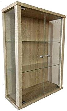 Vitrina Mueble de pared 80x60x25 cm color Roble de sonoma con 2 estantes de vidrio