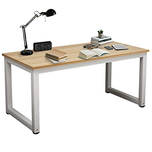 (Large Computer Desk,Charavector Modern Simple Table Made of The Finish Wood Board and Sturdy Steel Legs Has Wide Workstation Tabletop for Writing,Games and Home Work)
