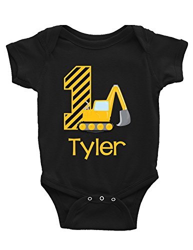 Blu Magnolia Co Baby Boys' Excavator 1st Construction Birthday Outfit | Personalized with Any Name (12 Months, Black)