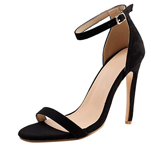FengGa Summer Sexy Women's Solid Ladies High Heels Wedding Party Prom Shoes Simple Classic Evening Sandals Black]()