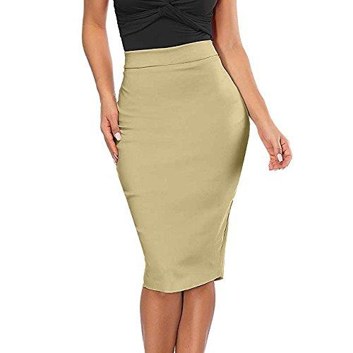 【MOHOLL】 Women's Elastic Waist Stretch Bodycon Midi Pencil Skirt Beige