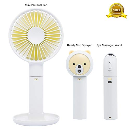 Mini Handheld Fan, Mini USB Fan with 3 Speeds, Small Personal Portable Desk Table Fan Operated by Lipstick-Sized Charger for Home Office Outdoor Travel (Eye Massager Wand/Handy Mist Sprayer Included)