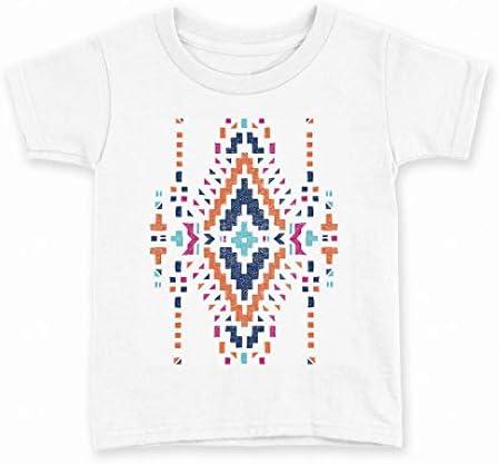 igsticker プリント Tシャツ キッズ 子供 90 サイズ size おしゃれ クルーネック 白 ホワイト t-shirt 014482 ネイティブ柄 模様