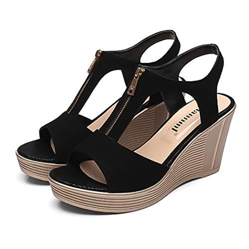 (T-JULY Women High Wedge Sandals Platform Woman Shoes Peep Toe Female Slingback Sandalias Ladies Ankle Strap Shoes for Summer)