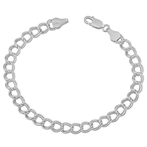 (AFJewels 925 Sterling Silver Double Link Charm Bracelet 5 mm 8