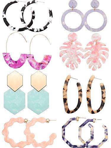 8 Pairs Mottled Acrylic Hoop Earrings Resin Statement Drop Dangle Earrings Polygonal Bohemian Fashion Jewelry Earrings for Women Girls (Style F)