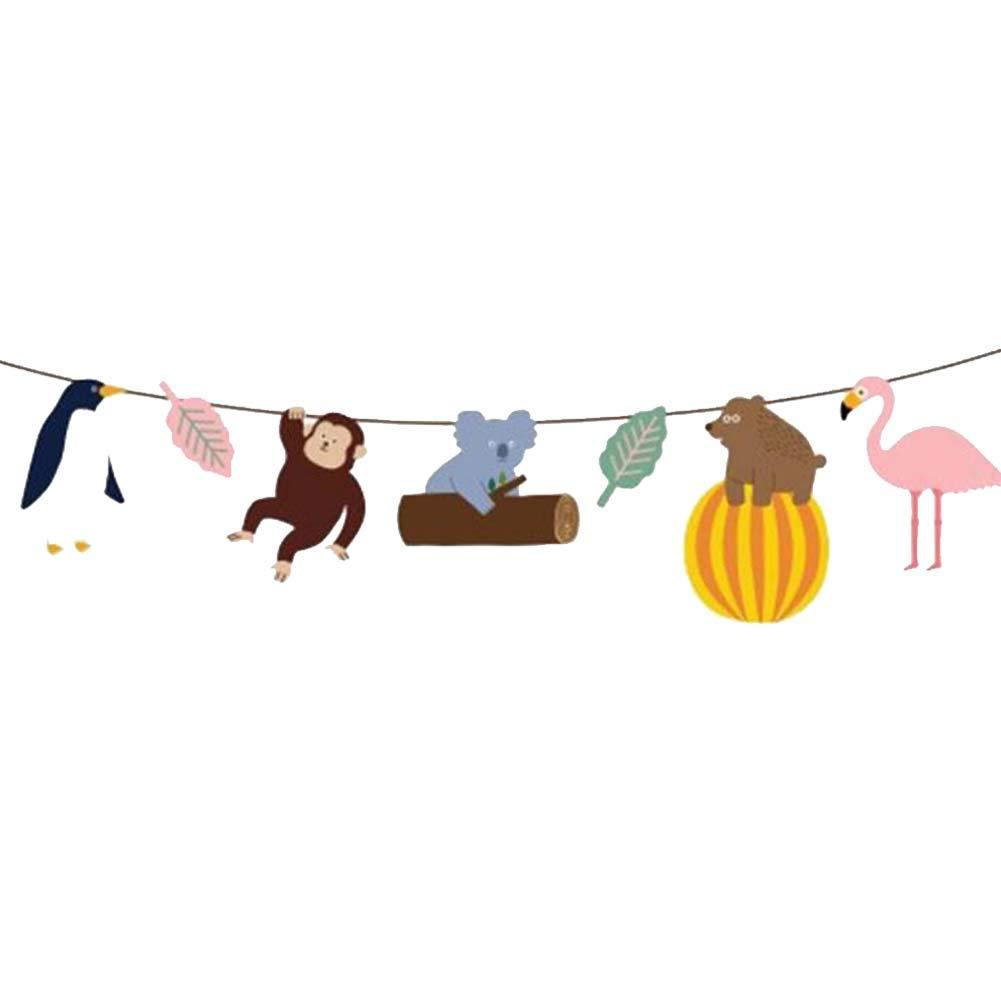 BRUIO Animal Banner Garland Jungle Woodland Animals Banner Kids Birthday Forest Theme Parties Decoration Supplies,5PCS