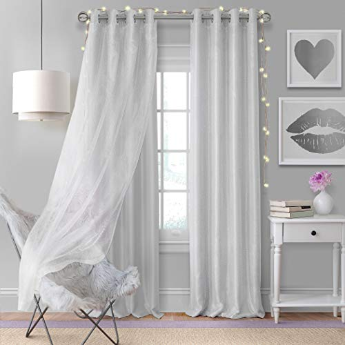 "Elrene Home Fashions Aurora Single Solid with Sheer Overlay Room Darkening Window Curtain Panel, 52"" W x 84"" L (1), Pearl Gray"