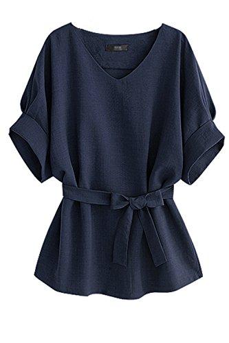 Women 's Casual Con Cuello En V Manga Corta Camisetas Tops Blusas Verano Pajarita Blue