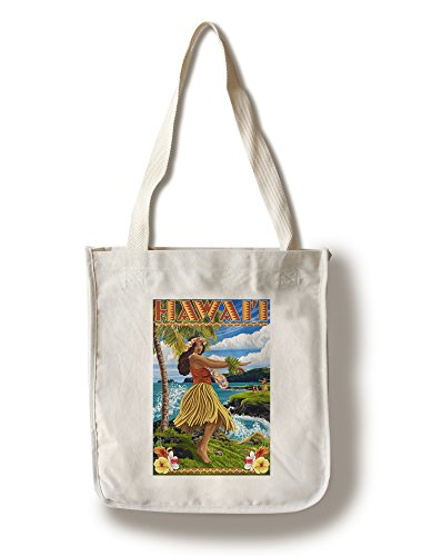 Lantern Press Hawaii - Hula Girl on Coast (100% Cotton Tote Bag - Reusable) -