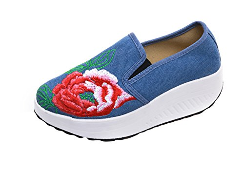 SK Studio Women's YR34 Canvas Slip On Loafer Light Blue 4nIkDQdcl