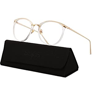 SojoS Round Women Eyeglasses Fashion Eyewear Optical Frame Clear Glasses SJ5969 (C7 Transparent Frame/Gold Temple, 50)