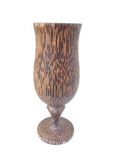 "1PCS 5.75""X2"" NEW WINE ,ฺฺฺBRANDY GLASS SOUVENIR CUP CARVED WOODEN THAI HANDCRAFT PALM WOOD"