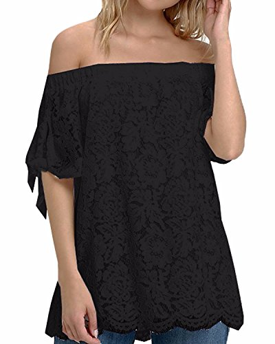 StyleDome Women's Lace Crochet Off Shoulder Short Sleeve Tops Tee Shirt Blouse Black US 6-8