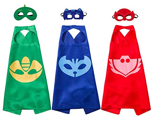 Joy Day Capes and Masks for Kids Costumes and Dress Up for PJ Boy Birthday Party Favors Set of 3 (Multi)