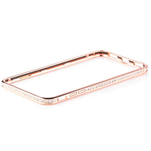 Apple iPhone 6/6S + PLUS (5.5 Inch)   iCues Rhinestone Metal Bumper Rose   [Screen Protector Included] Frame Aluminium Case Crystal Diamond Sparkle Bling Glitter Women Girl Chrome (Diamond Crystal Protector)