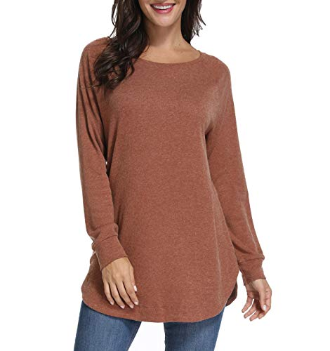 (Mingriya Women's Long Sleeve Sweatershirt Lightweight Knit Tunic Tops (Coffee, Medium))